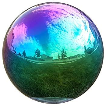 Lilys Home Gazing Globe Mirror Ball in Rainbow Stainless Steel - 12 Inch