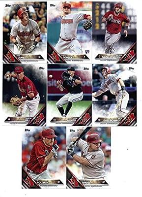 2016 Topps Baseball Series 1 Arizona Diamondbacks Team Set of 12 Cards: Brad Ziegler(#25), Ender Inciarte(#97), Jeremy Hellickson(#104), A.J. Pollock(#130), Yasmany Tomas(#186), Aaron Hill(#203), Nick Ahmed(#211), Silvino Bracho(#251), Paul Goldschmidt(#2