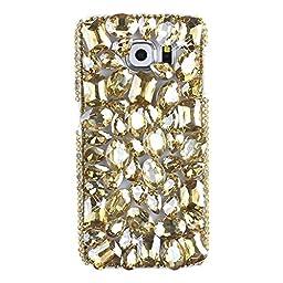 Samsung Galaxy S7 Edge Case, Sense-TE Luxurious Crystal 3D Handmade Sparkle Diamond Rhinestone Clear Cover with Retro Bowknot Anti Dust Plug - Rhinestone Design / Gold