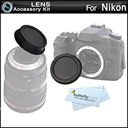 Rear Lens Cap and Camera Body Cover Cap for NIKON DSLR Cameras (Nikon Df, D7100, D7000, D5200, D5300, D5100, D3200, D3100, D800, D700, D600, D610, D300S, D90 Digital SLR Camera) + ButterflyPhoto Microfiber Cleaning Cloth