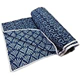 Handicraftofpinkcity Hand Block Print Cotton Baby Quilts Throw Indigo Blue Color Soft Baby Sheet Cotton Baby Wrap...