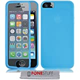 Fone-Stuff iPhone 5s 5 case - full body silicone gel skin cover with see through touchable wallet flip screen protector in blue