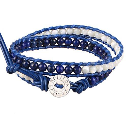 kelitch-lapis-lazuli-et-shell-pearl-2-strand-bracelet-sur-bleu-cuir