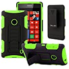 CellJoy® Nokia Lumia 520 (WILL NOT FIT LUMIA 521) Hard Case Protective Cover Skin [Future Armor] Ultra Fit Dual Protection Cover with Belt Clip Holster For Lumia 520 [Retail Packaged] (Neon Green)