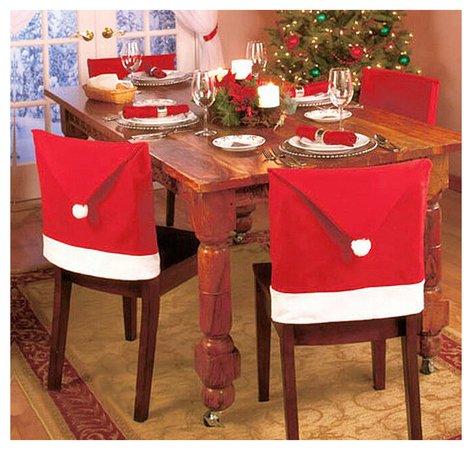 Taoler2014 Santa Claus Hat Chair Covers, 60cm X 50cm Set of 8