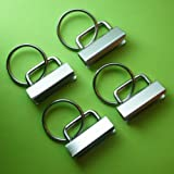 RETON 25 Sets - Key Fob Hardware with Split Ring - 1.25 Inch Wide (Color: White Nickel, Tamaño: 25 Pcs, 1.25 Inch)