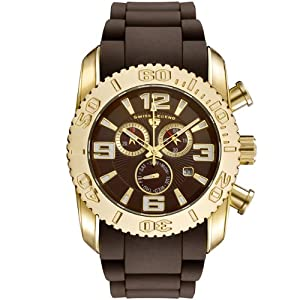 Mens 20067-YG-04 Commander Collection Chronograph Yellow Gold Brown Rubber Watch