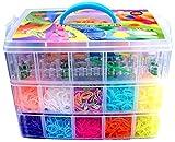 Kit loom boîte 9000 élastiques malette 3 étage pour crée vos bracelets coffret compatible rainbow loom avec métier à tisser