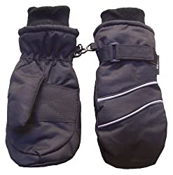 N'Ice Caps Boys Reflector Trimmed Ski Mitten (black/reflector piping)