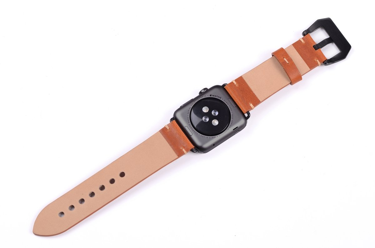 Apple Watch Band ,Vintage Vegetable Tanned Leather Watch Band For I Watch 42mm With Black Adaptor Light Brown 3