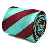 Frederick Thomas maroon red and turquoise barber striped tie with signature floral design to the rear