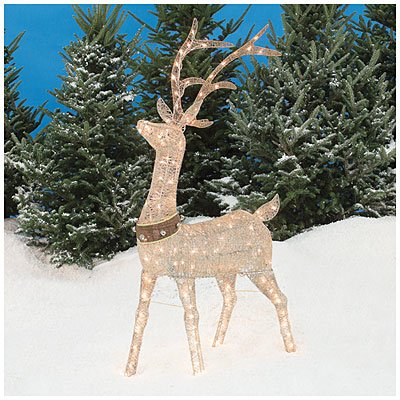 Pre lit glittering champagne buck deer 5 39 lawn christmas for Christmas deer lawn decorations
