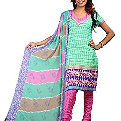 Shree Hari Creation Women's Poly Cotton Unstitched Dress Material (232_Green_Free Size)