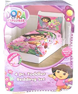 com dora the explorer and boots 4pc toddler bedding set new baby