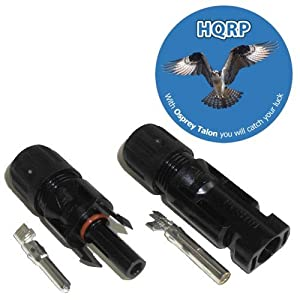HQRP Pair MC4 Solar Panel Connector male & female (M&F) for PV / Photovoltaic System plus HQRP Coaster