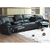 Black Leather Motion Home Theater Sectional Sofa Couch