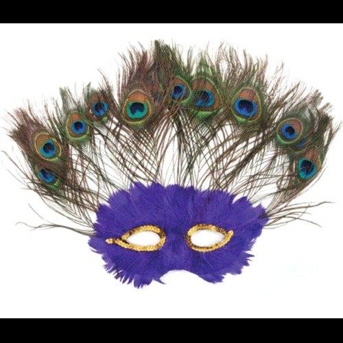 [Purple Peacock Feather Half Mask Masquerade Adult Halloween Costume Mardi Gras] (Peacock Spider Costume)