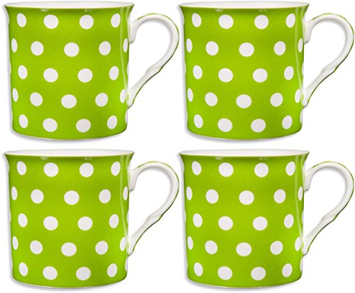 Set of 4 Green Ceramic Coffee Mugs, 10-Ounce White on Green Polka Dot themed Coffee Cups with Coasters in Gift Box
