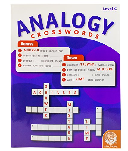 MindWare - Analogy Crosswords: Level C - 50 Puzzles - Great For Standardized Tests - Challenging and Engaging - Grades 6-8