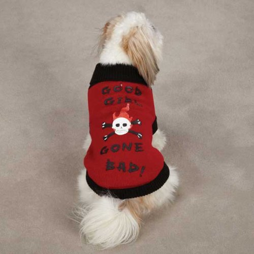 East Side Collection Acrylic Good Girl Gone Bad Dog Sweater, Small/Medium, 14-Inch, Red
