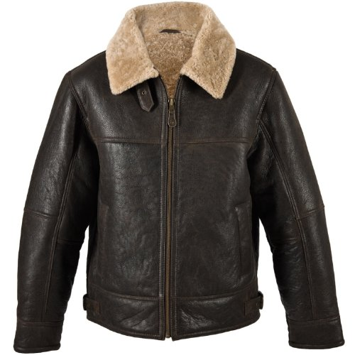 Mens Dark Brown Leather Aviator Flying / Bomber Jacket with Sheepskin lining (Shaun). Size 48