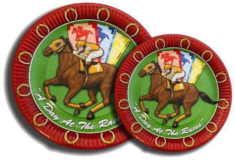 "HORSE RACING DESSERT PLATES "" DAY AT THE RACES"" - 1"