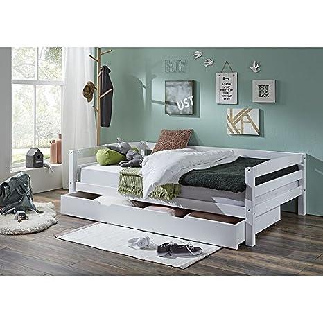 Funktionsbett ausziehbar mit Bettschublade &#x25CF Buche massiv weiß lackiert ● Liegefläche 120x200cm ● Bettkasten als 2te Liegefläche 90x190cm