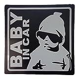 BABY IN CAR 赤ちゃん 乗車中 ( 12cm )( マグネット ステッカー )( ブラック )( 外貼り デザイン )