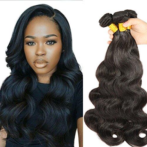[Beautyplus Hair 3 Bundles Body Wave Black Color Human Hair Extensions Medium Length Unprocessed Natural Virgin Hair for Noble Temperament Girls' Pack of 3 Bundles (12 14 16] (Wild Curl Black Wig)