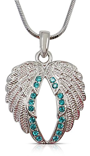 Teal Blue Crystal Guardian Angel Wings Silver Tone Necklace Gift for Women, Teens and Girls Ovarian Cervical Cancer Awareness
