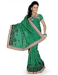 Designersareez Women Bhagalpuri Silk Embroidered Green Saree With Unstitched Blouse(655)