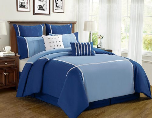 Nice  Piece Cal King Vienna Blue Bed in a Bag Set