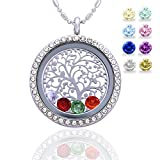 Family Tree of Life Birthstone Necklace Jewelry – Gifts for Mom Floating Charm Living Memory Lockets Pendant