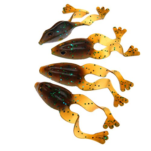 buy FishingSir Silicon Rubber Sexy Frog Set Soft Topwater Fishing Lures Bass Bait Tackle - Pack of 4 for sale