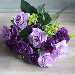 15 Heads Fake Silk Flowers Artificial Rose Wedding Plant
