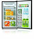 Midea HS-120L Compact Single Reversible Door Refrigerator with Freezer, 3.3 Cubic Feet, Black