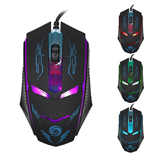 Kinghard 3200 DPI LED Optical USB Wired Gaming Mouse Mice For PC Laptop Black