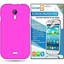 buy Coveron® Blu Studio 5.0 D530 Silicone Rubber Soft Skin Case Cover Bundle With Clear Anti-Glare Lcd Screen Protector - Hot Pink