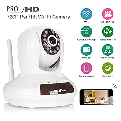 ANNKE SPI 720P HD 1280 x 720p Network Night Vision Plug & Play Wireless WIFI Pan/Tilt IP Camera for Home Security Video Recording Easy Remote Access via PC & Smartphone ( QR Code Scan, iPhone & Android Mobile View ,Two-ways Audio Talk, Motion Detection)