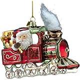 Kurt Adler Noble Gems Glass Santa on Christmas Train Ornament, 5.5-Inch