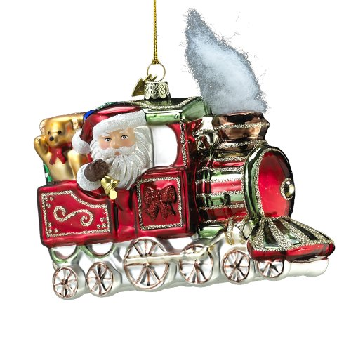 Kurt Adler Noble Gems Glass Santa on Train 5.5