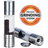 Wamber Salt and Pepper Mills - Salt and Pepper Grinders - Salt and Pepper Sets - Herb Grinder - Whole Spice Grinder. Combined Salt and Pepper Shaker. 2 in 1 Stainless Steel Premium Catering Grade Mill. Combines Two Adjustable 100% Ceramic Mills Into One Dual Ended Design. So Easy to Fill and Use. Makes Great Gift. 100% Happiness Guaranteed.