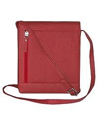 Leather Travel Unisex Premium Sling Bag Red
