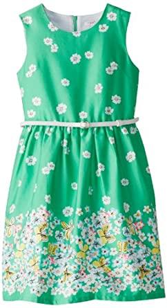 kc parker Big Girls' Sleeveless Print Fit and Flare Dress, Green Floral, 10