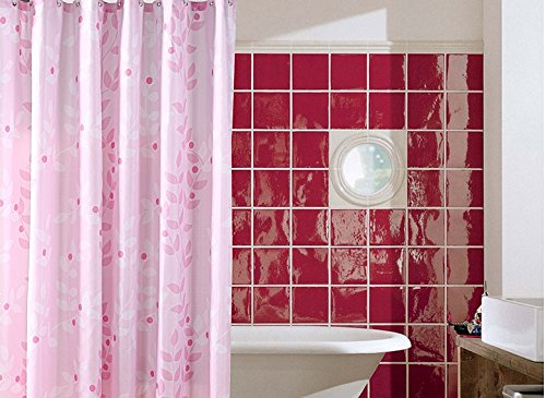 Pink Thickened Waterproof Polyester Fabric Shower Curtain With And White Tree Leaves Elegant Bathroom Accessory Personalized Curtains 72 X 80