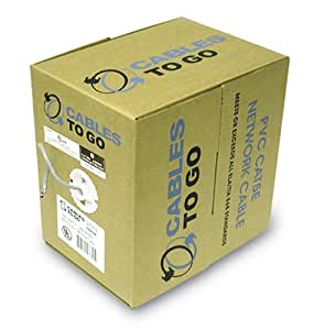 C2G / Cables to Go 27355 Cat5E UTP Solid PVC CMR-Rated Cable, White (500 Feet/152.4 Meters)