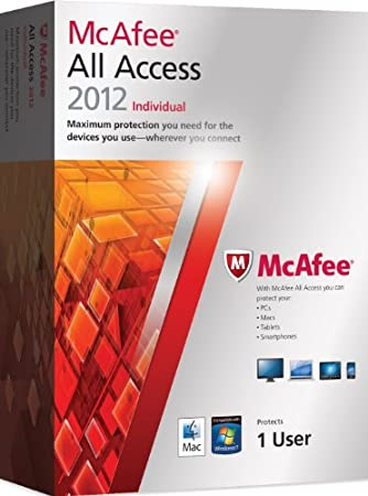 McAfee All Access 2012, Individual, 12 month Subscription, Over 8+ devices PC, Mobile and Tablet devices (PC/Mac/Android OS)