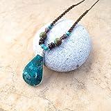 Eilat stone necklace, Macrame Eilat stone necklace, Eilat pendant necklace, sterling silver, Boho necklace