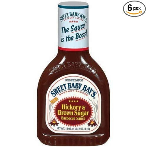 Sweet Baby Ray'S BBQ Sauce- Hickory & Brown Sugar - 18 Ounce- Squeezable-(Pack Of 6)