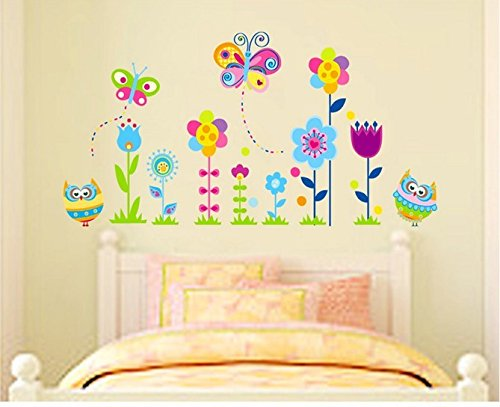 Home Wall Decor Decals Poster House Wall Stickers Quotes Removable Vinyl Large Wall Sticker For Kids Rooms Stickers Butterfly Flowers W-499